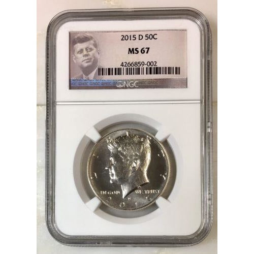 2015 D Kennedy Half Dollar Ngc Ms67 *rev Tyes* #900230 Coin