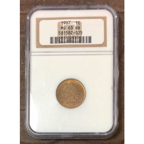 1907 Indian Head Cent Ngc Ms63 Rb *rev Tyes* #202560 Coin