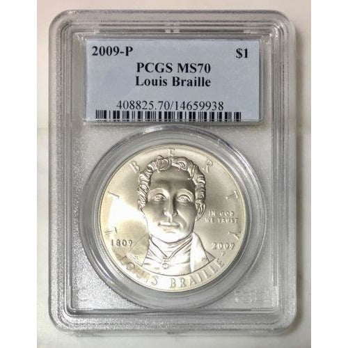 2009 Louis Braille Dollar Pcgs Ms70 #993835 Coin
