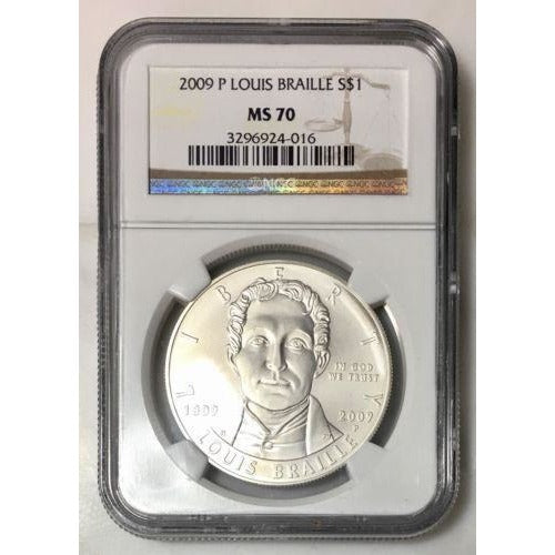 2009 Louis Braille Dollar Ngc Ms70 #401643 Coin