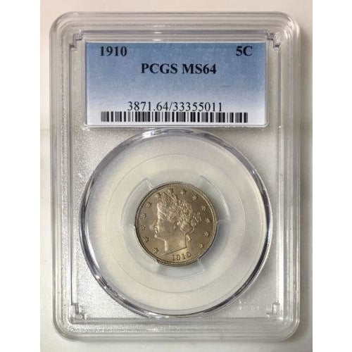1910 Liberty Nickel Pcgs Ms64 *rev Tyes* #5011203 Coin