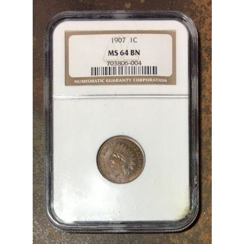 1907 Indian Head Cent Ngc Ms64 Bn *rev Tyes* #600469 Coin