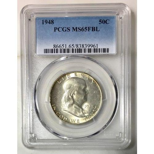 1948 Franklin Half Pcgs Ms65Fbl *rev Tyes* #9961100 Coin