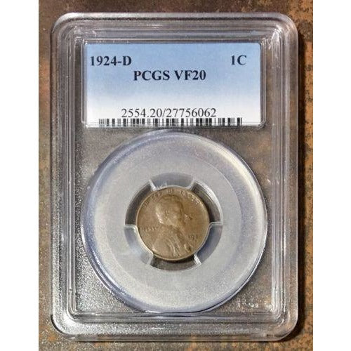1924-D Lincoln Cent Pcgs Vf20 *rev Tyes* #606252 Coin