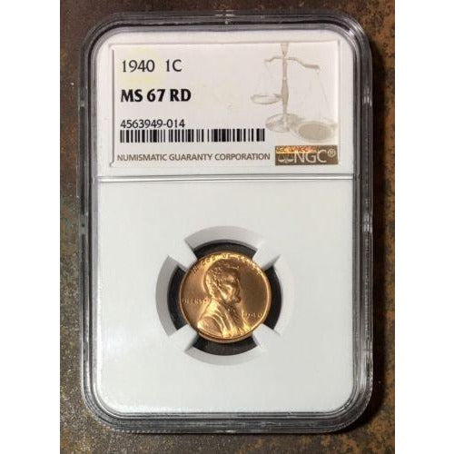 1940 Lincoln Cent Ngc Ms67 Rd *rev Tyes* #9014118 Coin