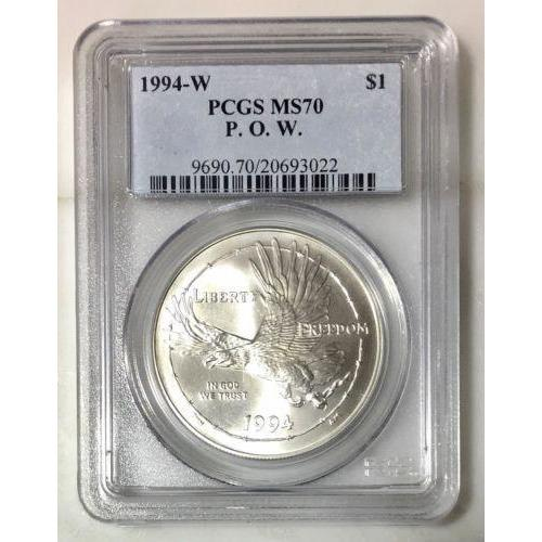 1994-W P. O. W. Dollar Pcgs Ms70 #302287 Coin