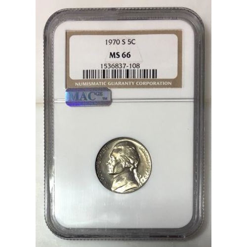 1970 S Jefferson Nickel Ngc Ms66 *rev Tyes* #710859 Coin