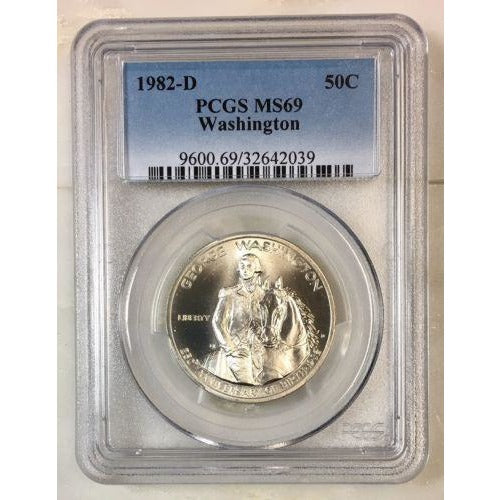 1982 D Washington Half Dollar Pcgs Ms69 *rev Tyes* #203969 Coin