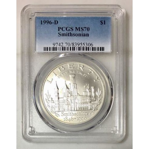 1996 D Smithsonian Dollar Pcgs Ms70 #5306 Coin