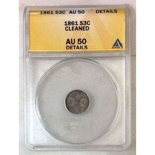 1861 Three Cent Silver Anacs Au50 Details *rev Tyes* #0389147 Coin