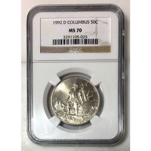 1992 D Columbus Half Dollar Ngc Ms70 #502572 Coin