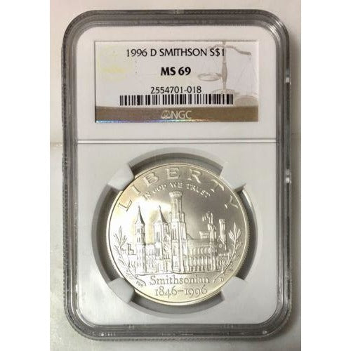 1996 D Smithsonian Dollar Ngc Ms69 #101875 Coin