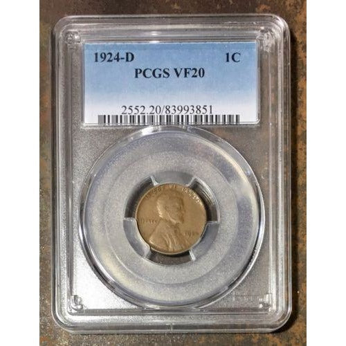 1924 D Lincoln Cent Pcgs Vf20 *rev Tyes* #385147 Coin