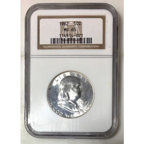 1962 Franklin Half Dollar Ngc Ms65 *rev Tyes* #402150 Coin