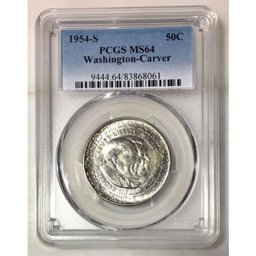 1954 S Washington Carver Half Dollar Pcgs Ms64 *rev Tyes* #806128 Coin