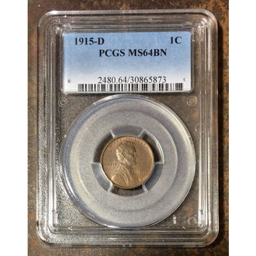 1915 D Lincoln Cent Pcgs Ms64 Bn *rev Tyes* #5873162 Coin