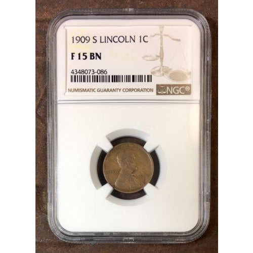 1909 S Lincoln Cent Ngc F15Bn *rev Tyes* #308683 Coin