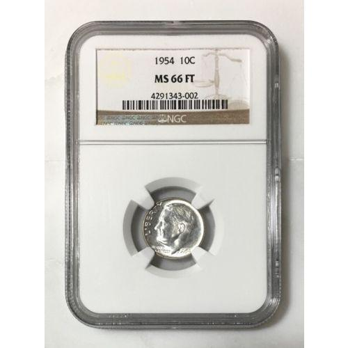 1954 P Roosevelt Dime Ngc Ms66 Ft *rev Tyes* #300253 Coin