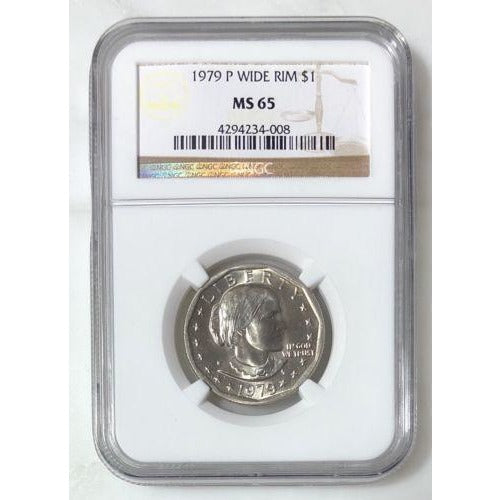 1979 Susan B Anthony Dollar Wide Rim Ngc Ms65 #400853 Coin