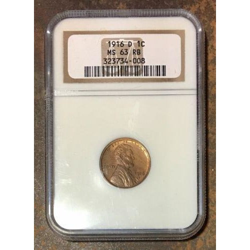 1916 D Lincoln Cent Ngc Ms63 Rb *rev Tyes* #4008141 Coin
