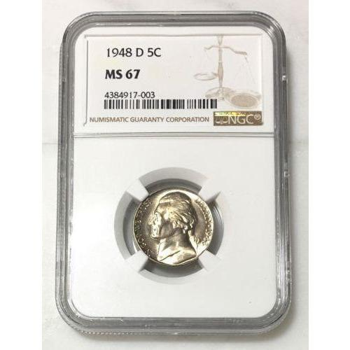 1948 D Jefferson Nickel Ngc Ms67 *rev Tyes* #7003128 Coin