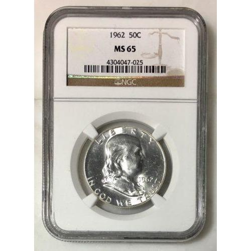1962 Franklin Half Dollar Ngc Ms65 *rev Tyes* #702560 Coin