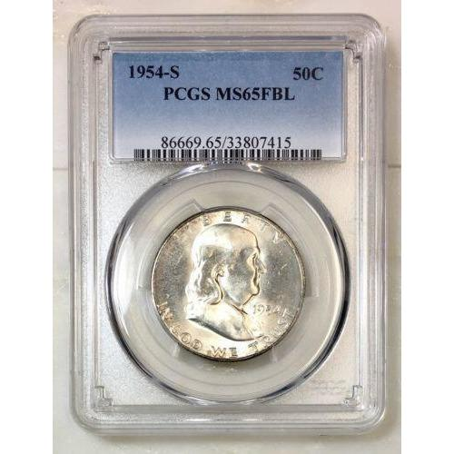 1954 S Franklin Half Pcgs Ms65Fbl *rev Tyes* #7415180 Coin