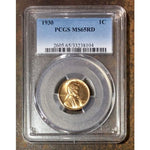 1930 Lincoln Cent Pcgs Ms65 Rd *rev Tyes* #810438 Coin