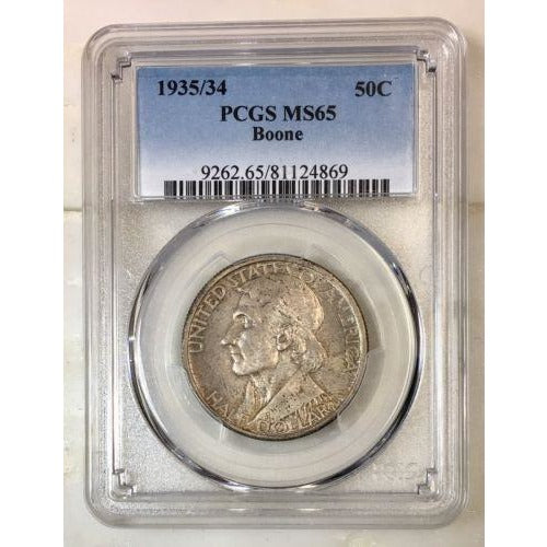1935/34 Boone Half Dollar Pcgs Ms65 *rev Tyes* #4869176 Coin