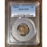 1914 S Lincoln Cent Pcgs Vf35 *rev Tyes* #190241 Coin