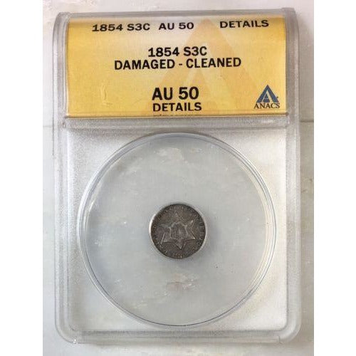 1854 Three Cent Silver Anacs Au50 Details *rev Tyes* #0856150 Coin