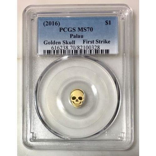2016 Palau $1 Golden Skull Pcgs Ms70 *rev Tyes* #032890 Coin