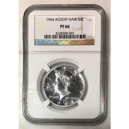 1964 Accented Hair Kennedy Half Ngc Pf66 *rev Tyes* #000371 Coin