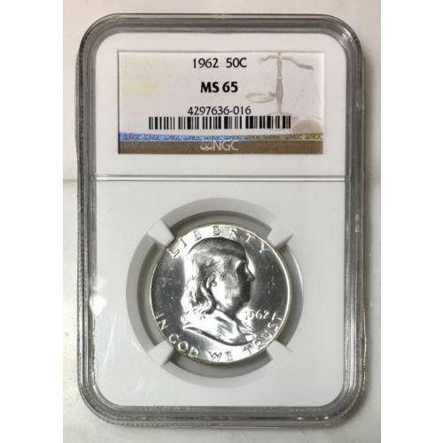 1962 Franklin Half Dollar Ngc Ms65 *rev Tyes* #601650 Coin