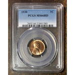 1930 Lincoln Cent Pcgs Ms66Rd *rev Tyes* #158069 Coin