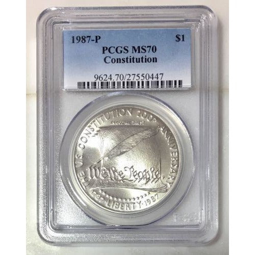 1987 P Constitution Dollar Pcgs Ms70 *rev Tyes* #044780 Coin
