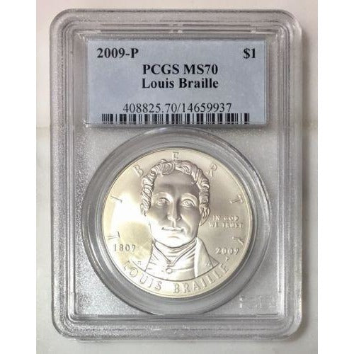 2009 Louis Braille Dollar Pcgs Ms70 #993740 Coin