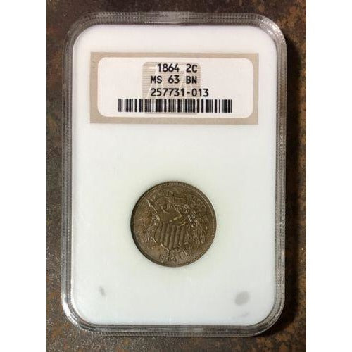1864 Two Cent Piece Ngc Ms63 Bn #1013180 Coin