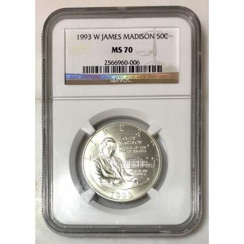 1993 W James Madison Commemorative Half Ngc Ms70 #000652 Coin