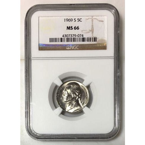 1969 S Jefferson Nickel Ngc Ms66 *rev Tyes* #907499 Coin