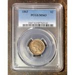 1863 Indian Head Cent Pcgs Ms63 *rev Tyes* #3141229 Coin