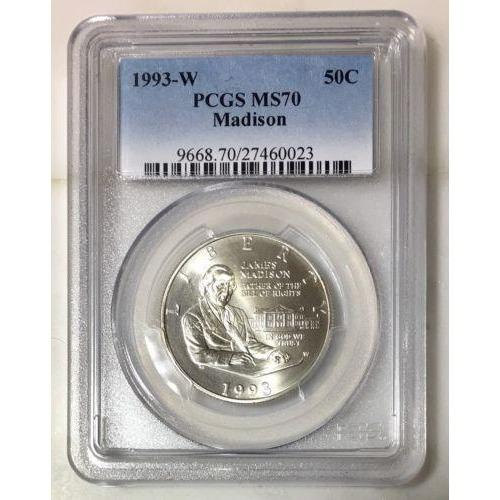 1993 W Madison Half Dollar Pcgs Ms70 #002345 Coin