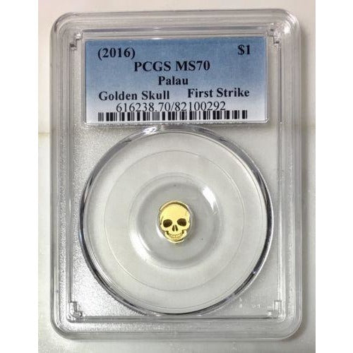 2016 Palau $1 Golden Skull Pcgs Ms70 *rev Tyes* #029290 Coin