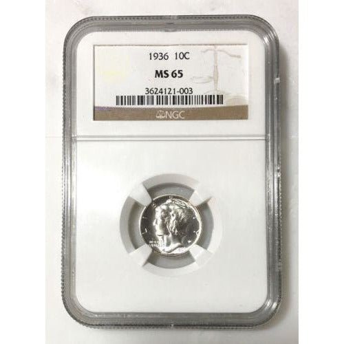1936 Mercury Dime Ngc Ms65 *rev Tyes* #100346 Coin