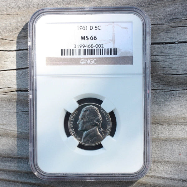 1961 D Jefferson Nickel Ngc Ms66 *rev Tyes* #8002276 Coin