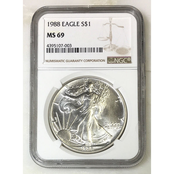 1988 Silver Eagle Ngc Ms69 *rev Tyes* #700337 Coin