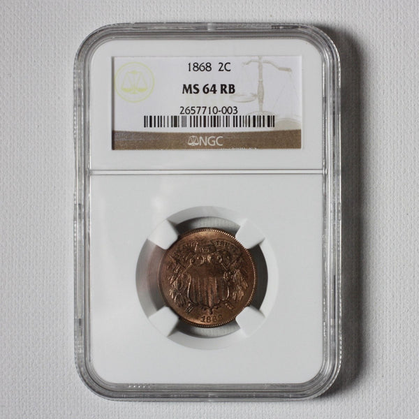 1868 Two Cent Piece Ngc Ms64 Rb #0003471 Coin