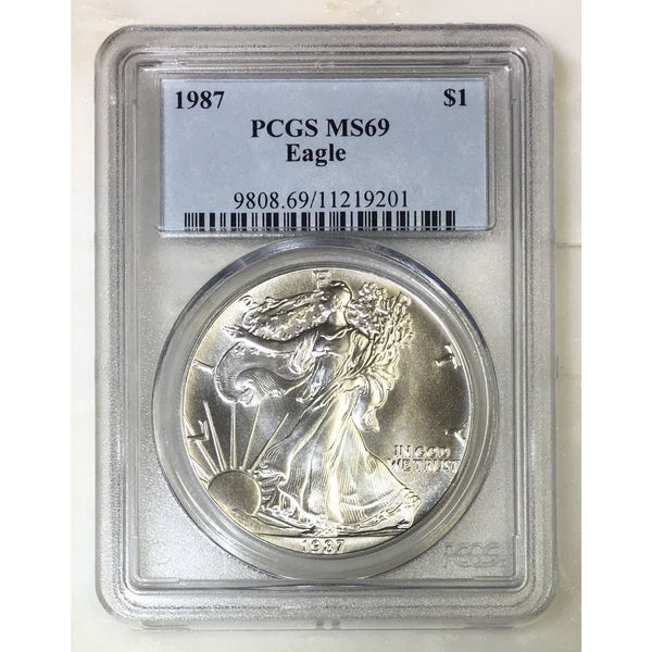 1987 Silver Eagle Pcgs Ms69 *rev Tyes* #920142 Coin