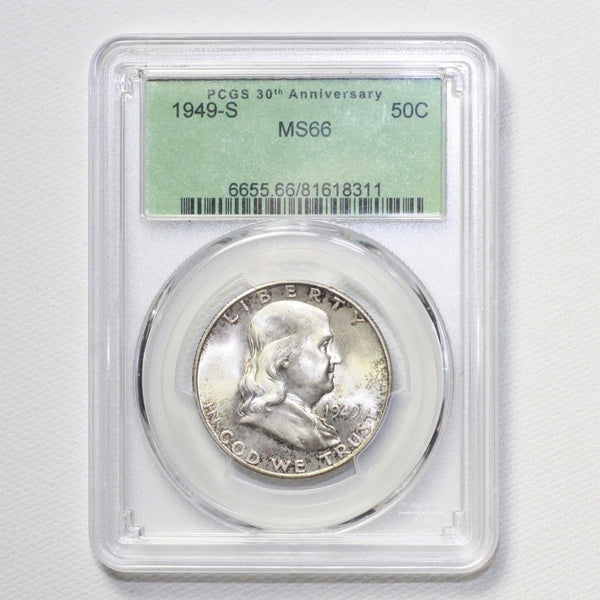 1949 S Franklin Half Dollar Pcgs Ms66 *rev Tyes* #8311200 Coin