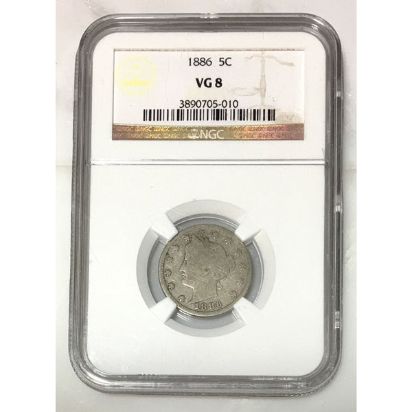 1886 Liberty Nickel Ngc Vg8 *rev Tyes* #5010210 Coin